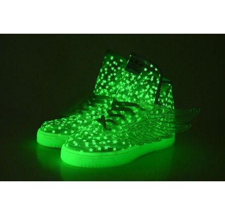 Glow in the Dark Adidas Shoes with Wings High Tops Baby's Breath