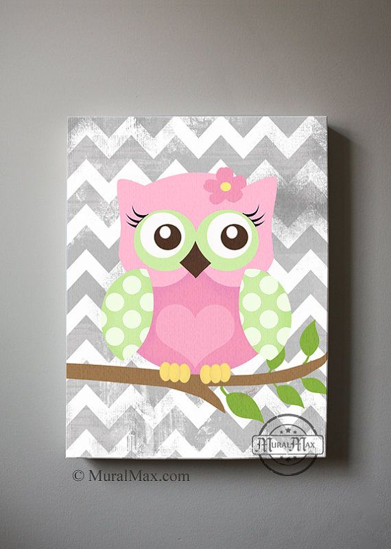 Girls wall art - OWL canvas art, Baby Nursery  Owl 16x 20 woodland nursery art