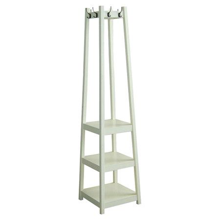 Found it at Wayfair - Tower Shoe & Coat Rack in White this is something we could make
