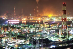 旅の目 : (5)水島コンビナートの夜景×HDR