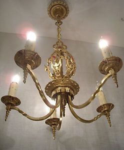 1926-Gothic-Tudor-Brass-Chandelier-RESTORED-Antique-Ceiling-Light-Fixture