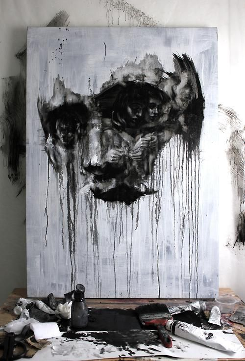 Tom French creates portraits or paintings of skull filled with other people…