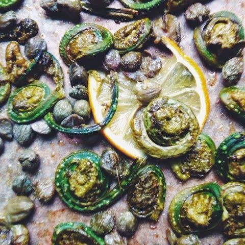 Oven-Roasted Fiddleheads with Capers and Lemon
