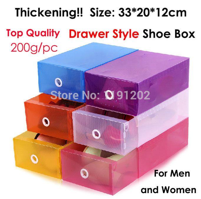 3 шт./лот! размер 33*20*12 см утолщение ящик стиль прозрачной обувной коробки цвета пластиковая коробка для хранения ПП упаковки box для обуви