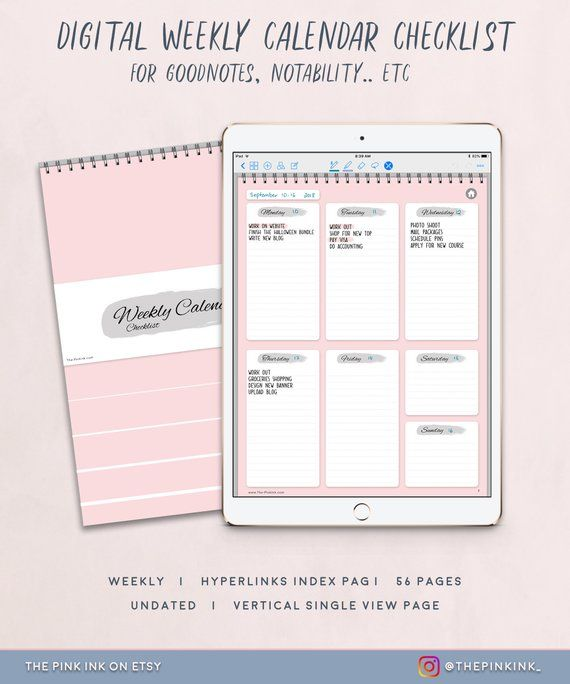 Digital Weekly Calendar Checklist Weekly Planner Undated