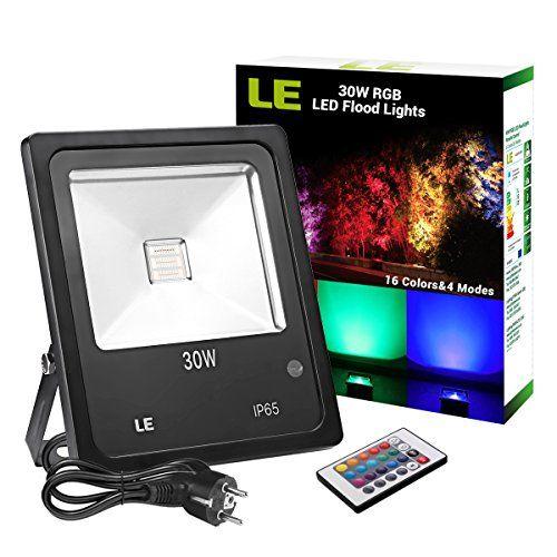 LE Projecteur LED RGB Extérieur Spot Lumineux Multicolor 30W 16 Couleurs 4 Modes IP65 Etanche pour Eclairage Extérieur Terrasse Jardin Noël…