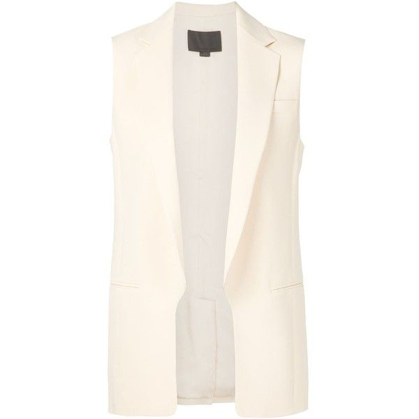 Alexander Wang Tailored Waistcoat (2,905 PEN) ❤ liked on Polyvore featuring outerwear, vests, white, white waistcoat, open front vest, white vest, alexander wang and alexander wang vest