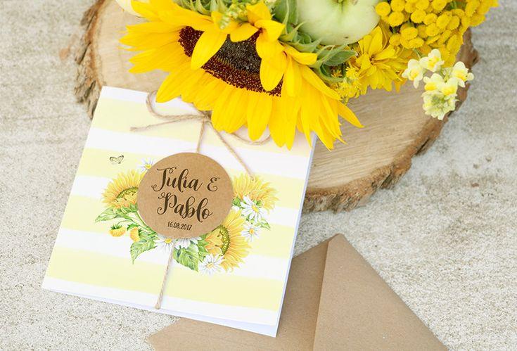 Invitación de boda original - Girasoles. Rústica, alegre y con el motivo de girasoles. Perfecta para una boda veraniega con un toque campestre.
