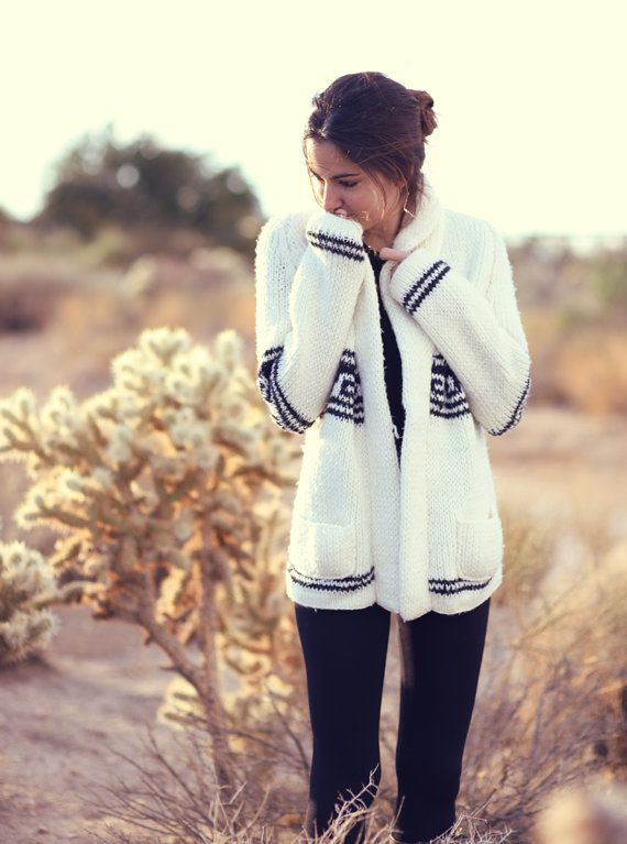 We love this look! 1970s Boho Hippy Western Ivory Hacienda Oversized Grandpa Sweater. Get the best deals on fall sweaters at Simba Deals! Check us out: bit.ly/1sQco20