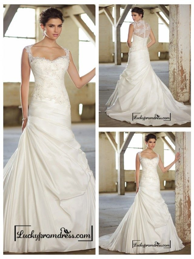Cap Sleeves Lace Over Bodice A-line Wedding Dresses with Illusion Back