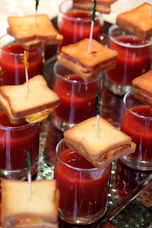 Grilled Cheese and Tomato Soup Shooters. This is a nicer presentation than cut sandwiches.