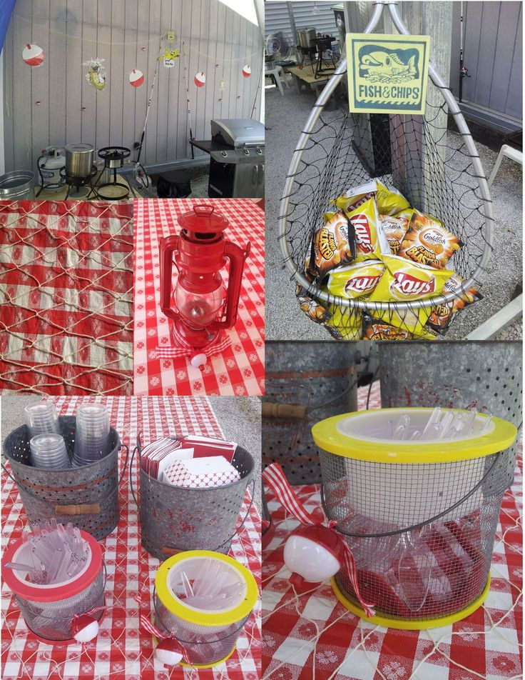 Here's my Fish Fry Decoration Ideas. Antique Minnow buckets for cups, napkins and small fish/ dessert trays.  Cricket containers for utensils with ribbon and bobber. Decorative fishnets over food table cloths.  Fishing nets or basket for goldfish crackers and chips. Citronella lantern centerpieces with ribbon & bobbers on bottom. Cutout bobbers, fish pictures and fishing poles.