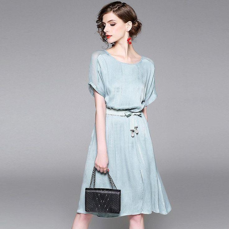 Flared & Simple Silk Chiffon Dress