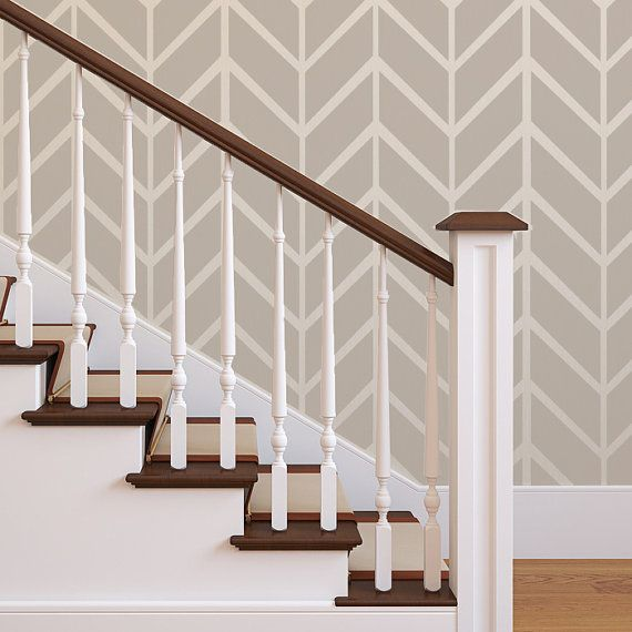 Wall Herringbone Shuffle Allover Modern Stencil for Easy Stenciled DIY decor
