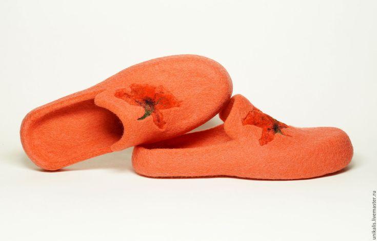 """Купить Валяные тапочки """"Коралловое Маковое Настроение"""". - коралловый, яркие тапочки, обувь на заказ"""