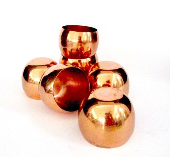 Set of 6 Copper Roly Poly Cups Moscow Mule Cups Copper