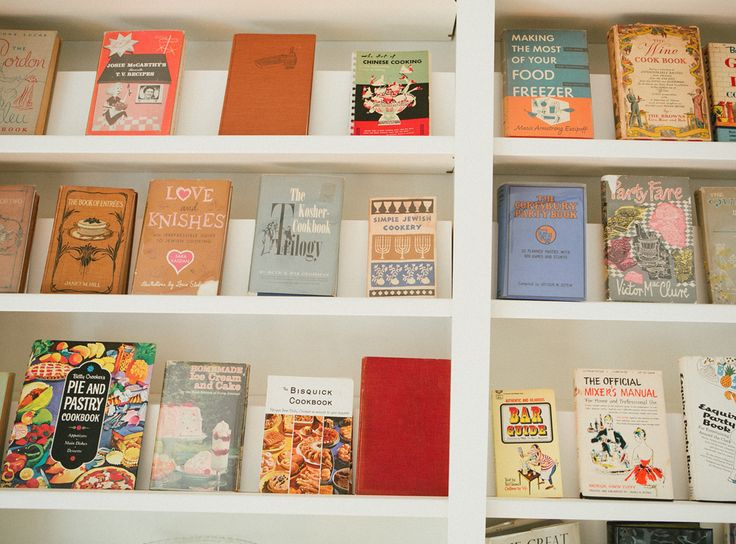 Vintage cookbooks at Farm and Fable, photograph by A Thought For Food