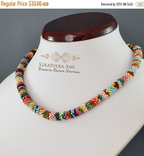 CHRISTMAS SALE colorful necklace beading necklace by SzkatulkaAmi