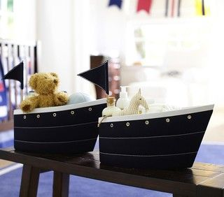 Fabric Sailboat Changing Table Storage - beach style - storage boxes - by Pottery Barn Kids