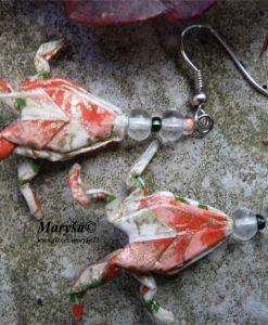 Frog origami earrings.