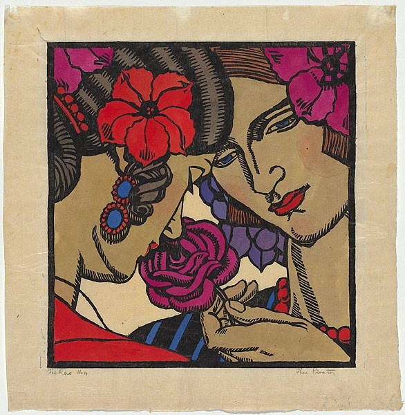 Artist: PROCTOR, Thea (1879-1966) | Title: The rose. | Date: 1927 | Technique: woodcut, printed in black ink, from one block; hand-coloured | One of the models is Proctor's cousin, Hera Roberts.