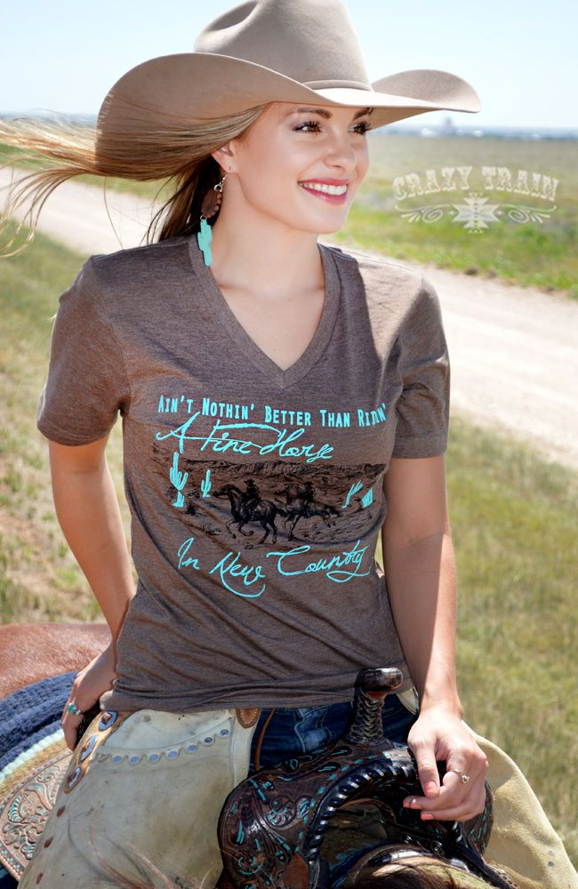Crazy Train Fine Horse New Country Tee Top Equestrian Shirt Lonesome Dove in Clothing, Shoes & Accessories,Women's Clothing,Tops & Blouses | eBay