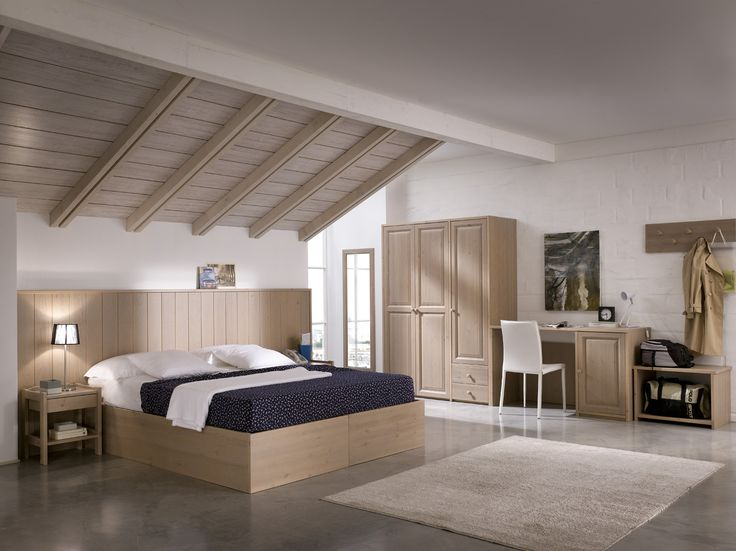 Camera da letto minimalista interamente in legno massiccio, ideale per arredare alberghi. #solidwood #hotelfurniture #madeinitaly #moderncountry #minimal   www.demarmobili.it