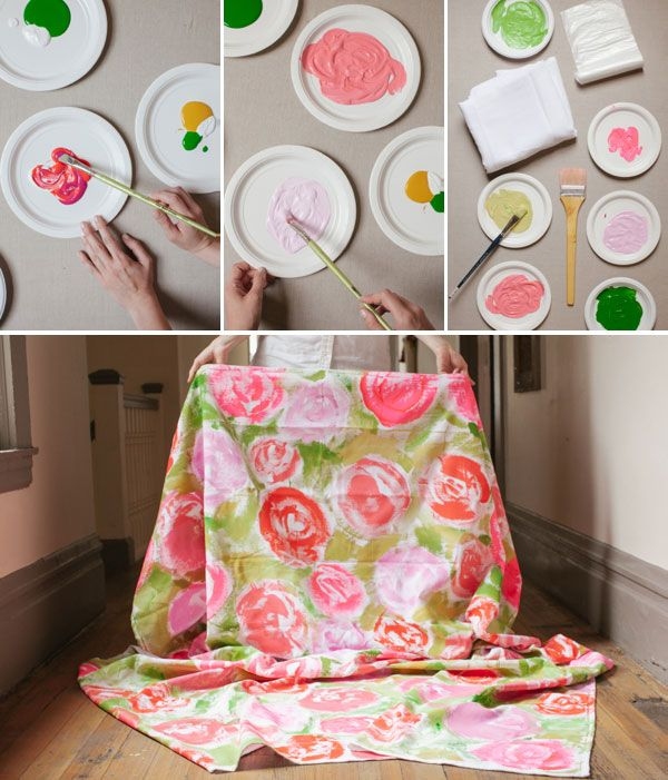 DIY ~ Painted Floral Tablecloth ~ cute ~ from: Oh Happy Day! i could make curtains out of this and hang it in front of my closet! (: