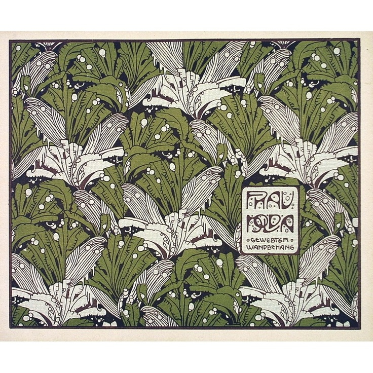 Koloman Moser 1901 'Frau Nolda' textile design,                                                                                                                                                                                 Plus