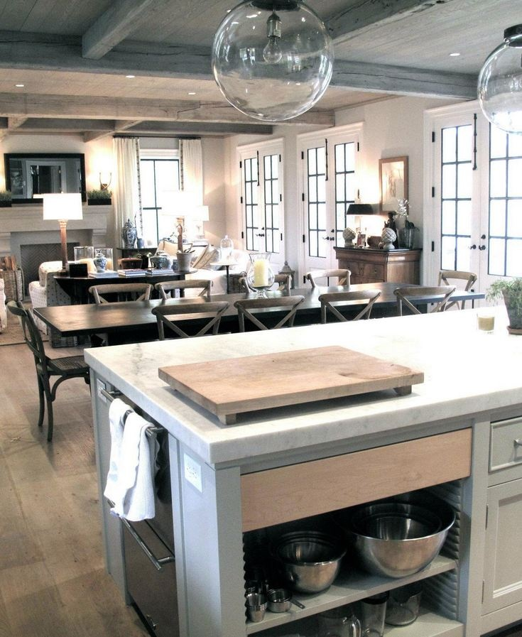 Kitchen, dining, living layout. Figless Manor (stained, limed, and waxed white oak floor)
