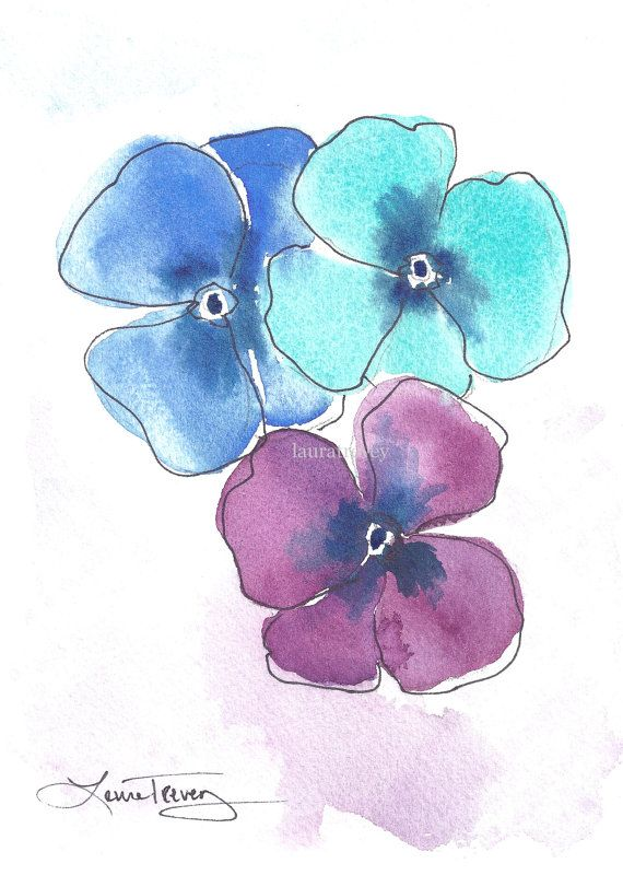 Pansies Watercolor - Looseness defined by ink outline. Note the different color drop in patches.
