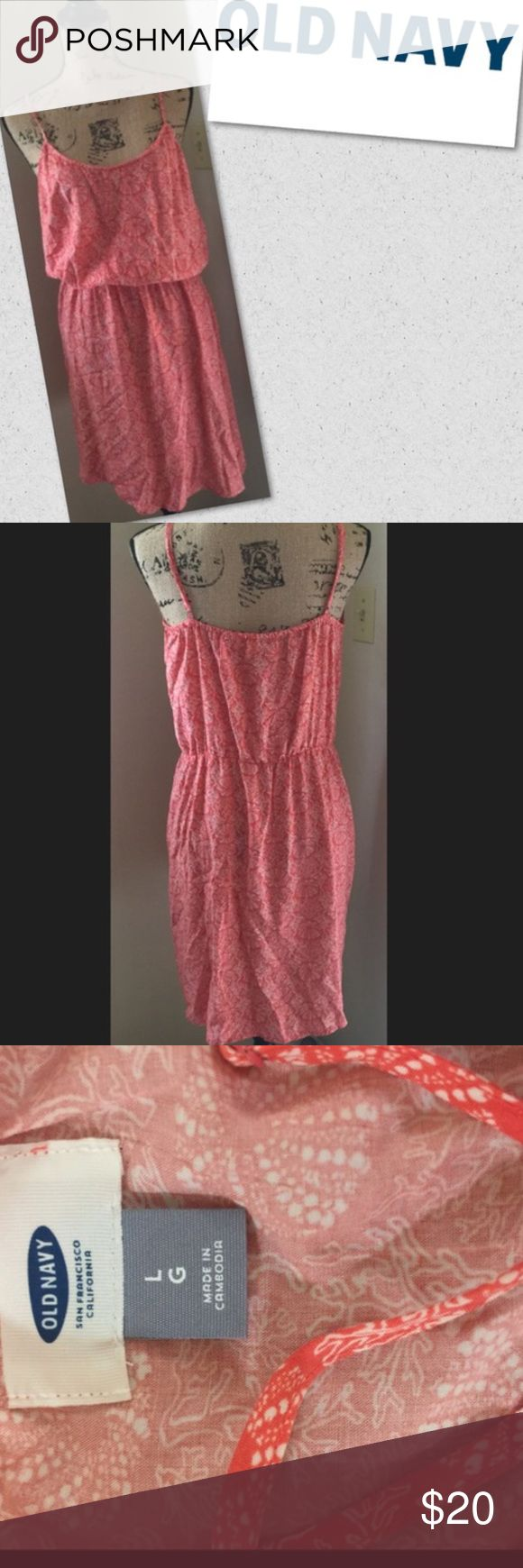 Old navy coral and sea life Old navy orange Cami dress size large coral and sea life print nautical theme Dresses