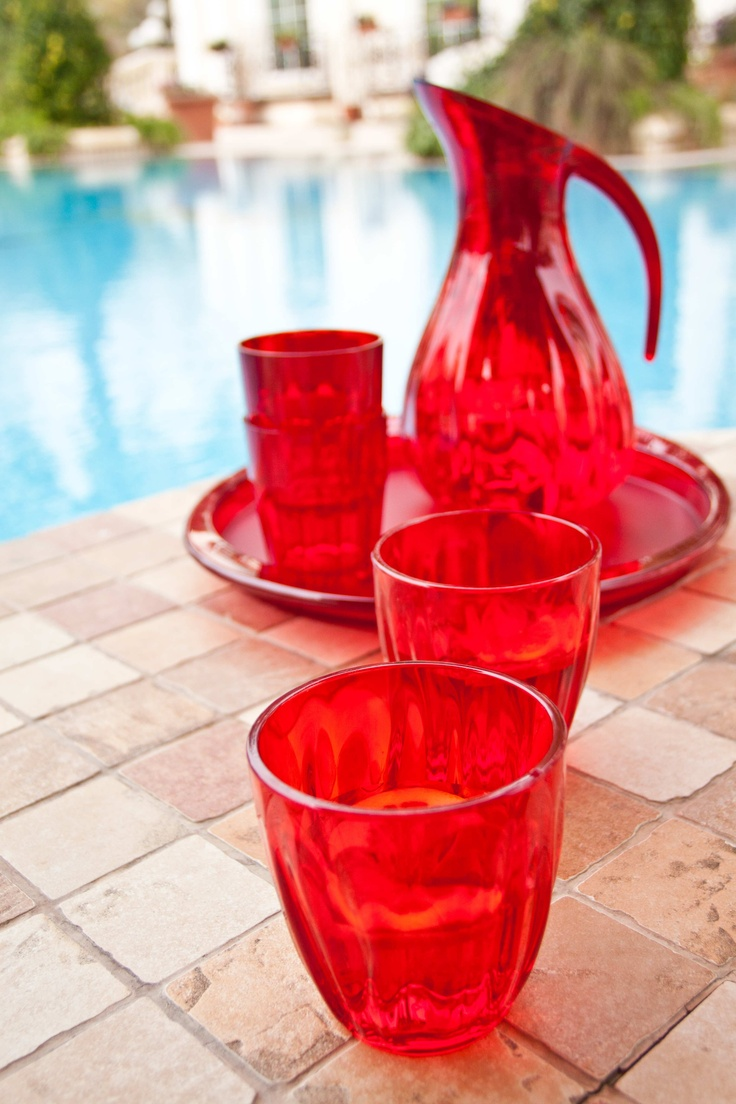Aqua Jug and glasses from Guzzini -	Environmentally friendly plastic -	Colours: Orange, Red, Clear, Purple and Green -	Price Jug- BD 7.000 -	Price water glass- BD 1.600 -	Price long tumbler- BD 1.600 -	Short tumbler- BD 1.500