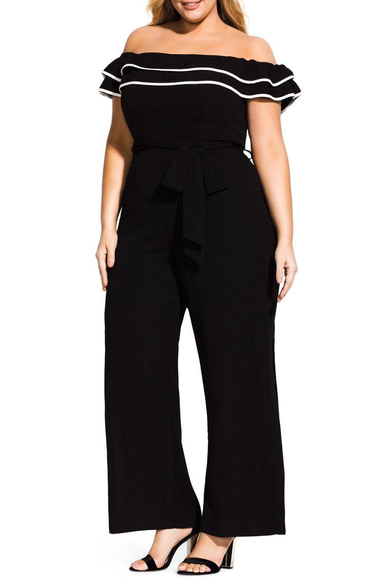 Plus Size Women's City Chic Demure Off The Shoulder Jumpsuit, Size X-Small – Black