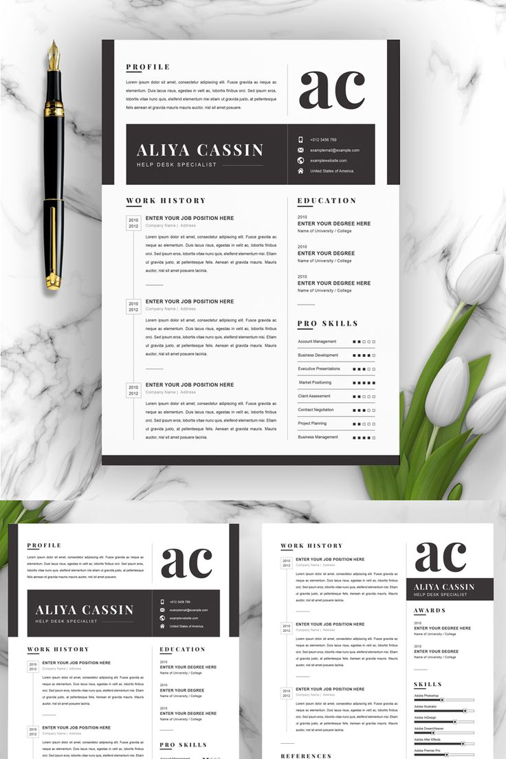 Black and White Resume Template in 2020 Resume template