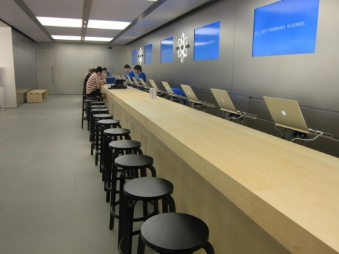Finnish Architect Alvar Aalto Signature Stools at Apple Genius Bars around the world
