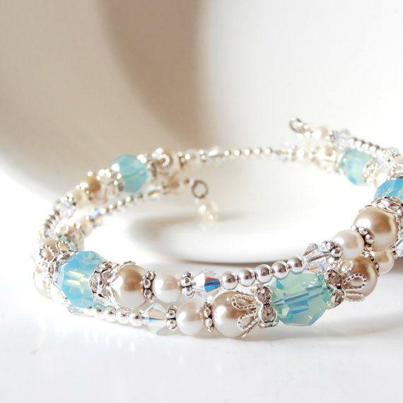 Beige and Seafoam Bracelet, Beaded Memory Wire Bridesmaid Bracelet, Sea Glass Crystal and Pearl Bridal Jewelry, Summer Beach Wedding Jewelry