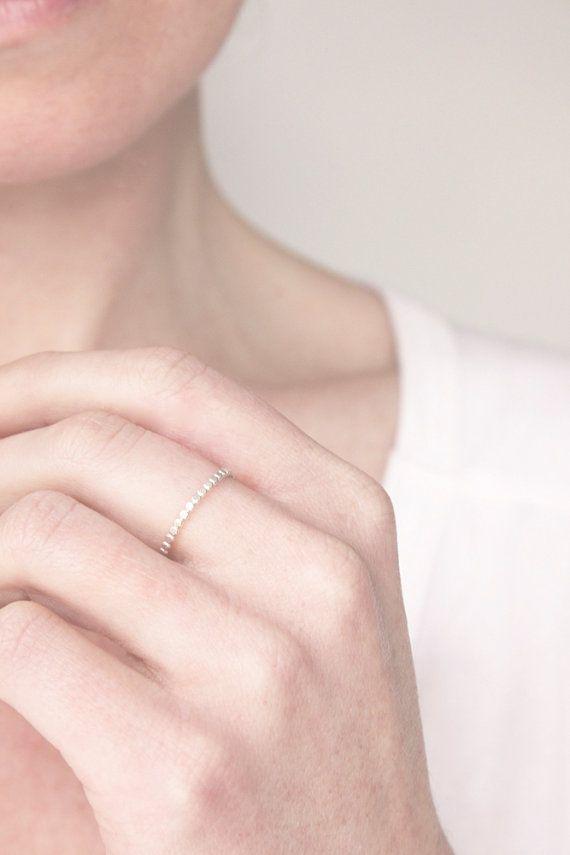 Sterling silver polka dot ring silver bead ring by BelindaSaville