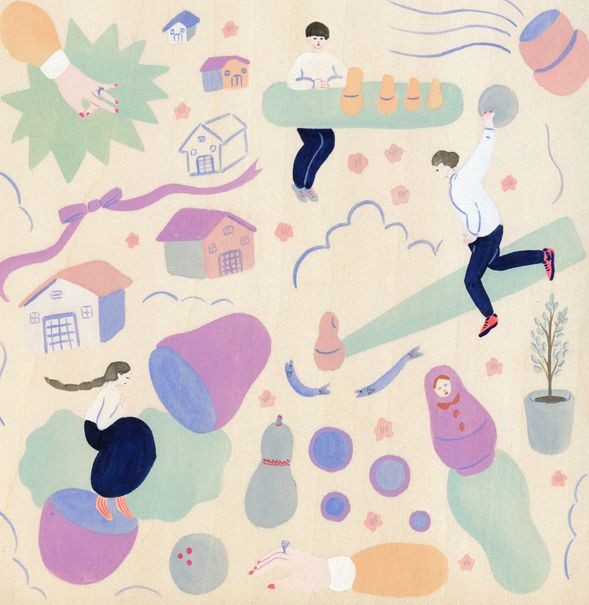 yu-fukagawa: CYAN 2014 WINTER|缶詰と体操|挿絵 マトリョーシカ
