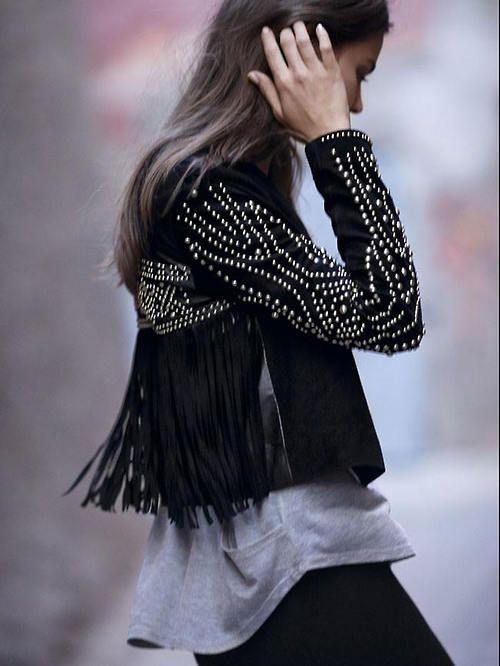 embellished black jacket with fringe
