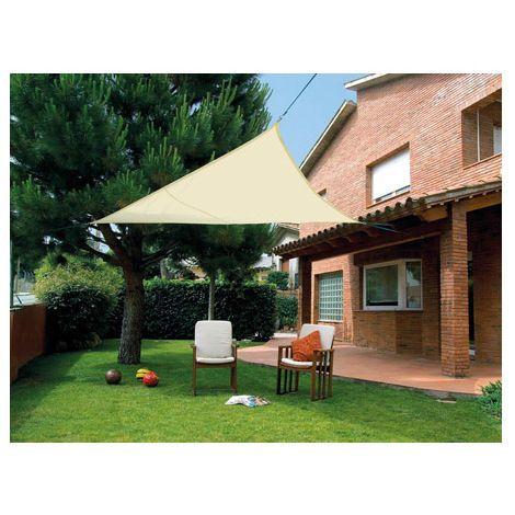 Toldo vela sombreo impermeable triangular 5 x 5 x 5 M beige - 2012353 - Jardines y piscinas