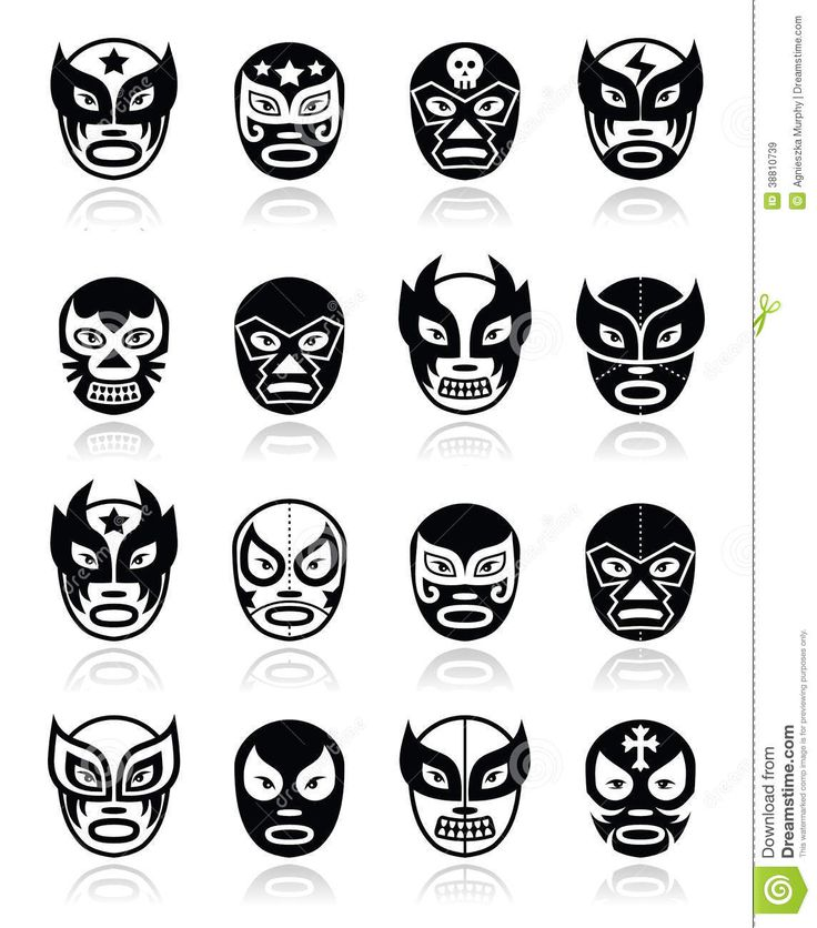 Lucha Libre, Mexican Wrestling Icons Stock Illustration - Image ...