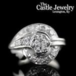 Antique Vintage .92 CTTW Old European Diamond 14 K Swirl Design Ring