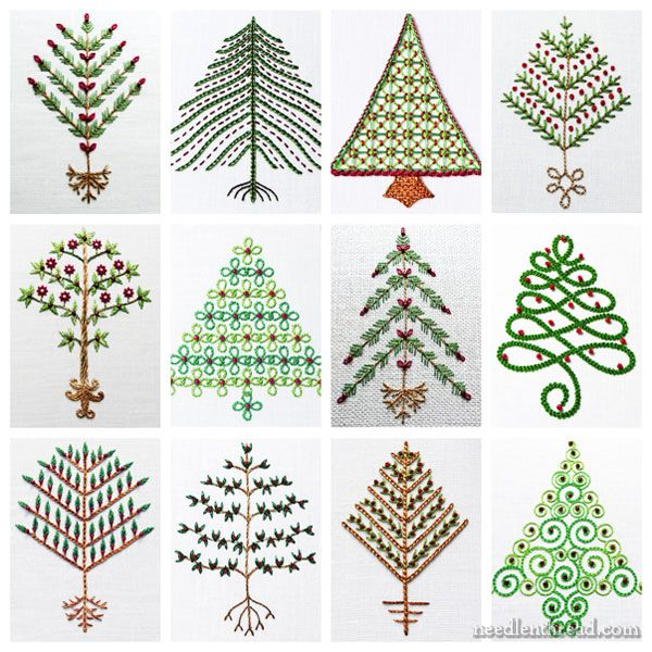 Twelve Embroidered Trees For Christmas Christmas Embroidery Patterns Christmas Embroidery Embroidery Stitches Tutorial