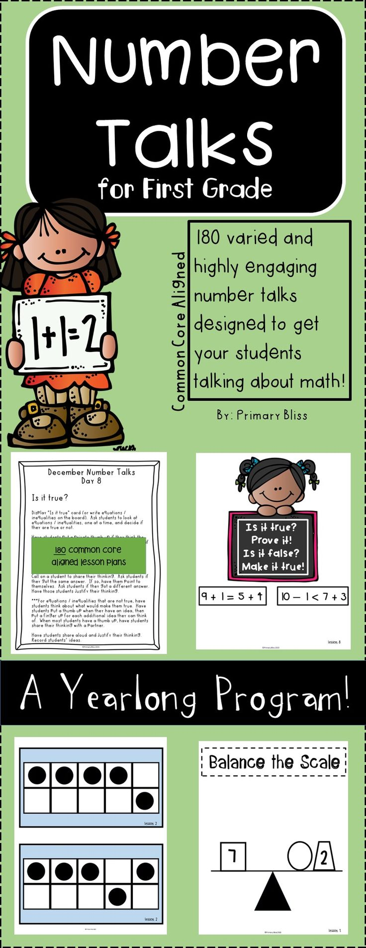 Do you want to integrate number talks into your daily routine, but are having a difficult time planning for them?  If so, this is for you!  This yearlong number talks program is specifically geared for first grade and contains 180 varied activities that increase in difficulty as the year progresses.  Your students are going to love engaging in mathematical discourse with their peers!  #numbertalks  #math  #firstgrade