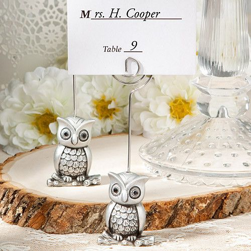 http://www.ebay.com/itm/100-Sweet-Adorable-Owl-Place-Card-Holder-Wedding-Favors-Shower-Event-Bulk-Lot-/360694928858?pt=LH_DefaultDomain_0=item53fb17d5da  Owl place card holders will make a great addition to your wedding reception tables!  Use them as name place cards or as table number holders.