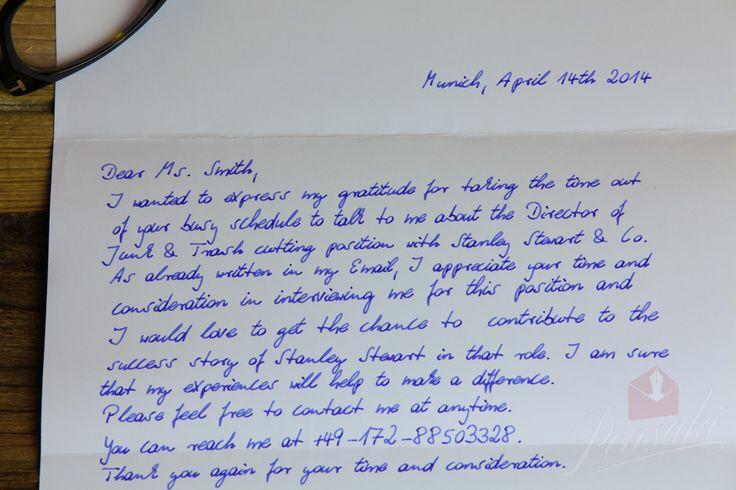 Job Interview Thank You Letter Example Handwritten
