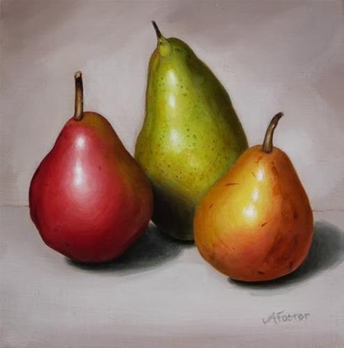 """Three Pears"" - Original Fine Art for Sale - © Jordan Avery Foster"