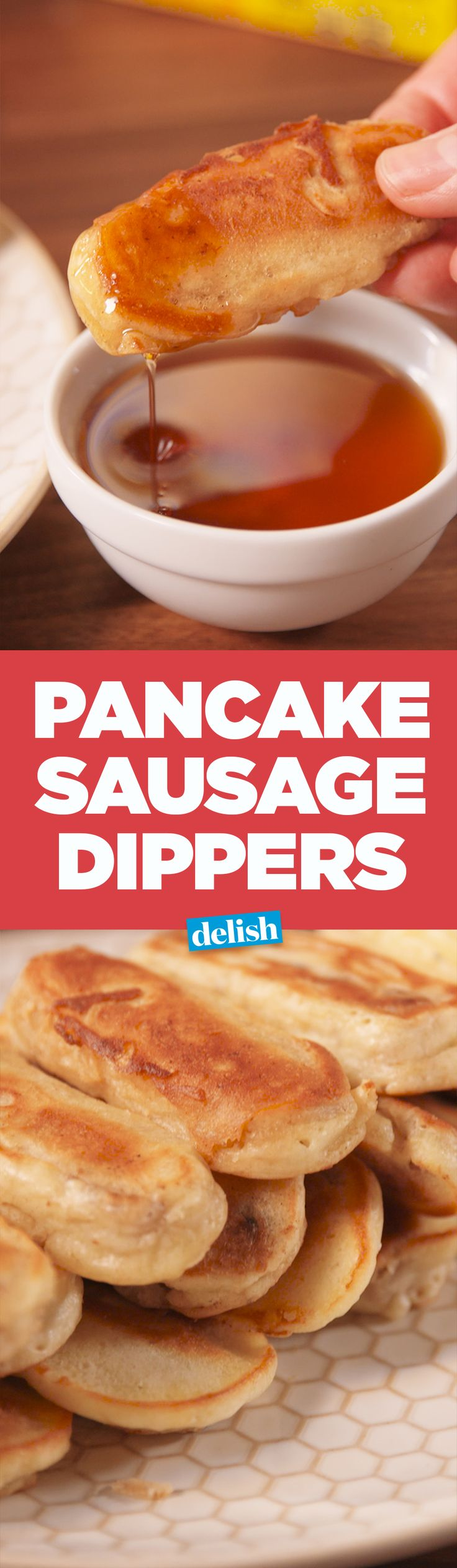 Sausage Pancake Dippers are the sweet and savory breakfast you've always wanted. Get the recipe on Delish.com.