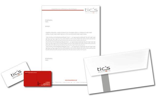 Aplicativos de marca TICS Solutions.  Papelería corporativa.